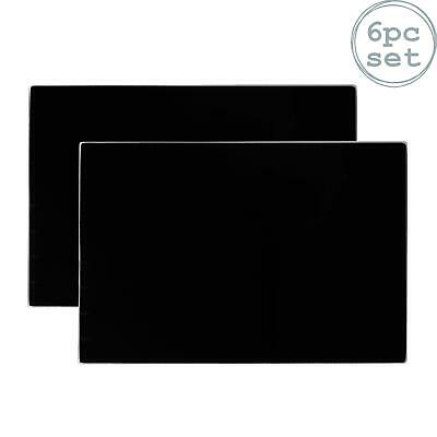 Glass Placemats - Set of 6 Dinner Table Place mats Black 300x200mm