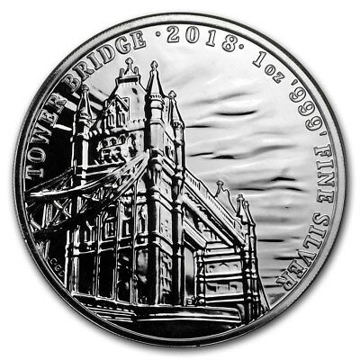 2018 Landmarks Of Britain Series - Tower Bridge 1 oz Silver BU Capsuled Coin