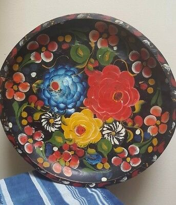 Large Old Hand Painted Wood Folk Art Floral Mexican Batea Tole Tray Plate Bowl