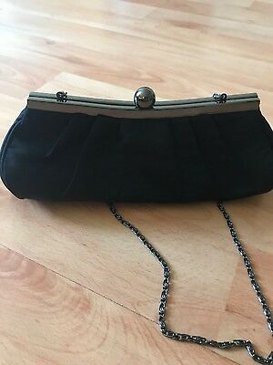 Black Women Bag Evening Party Prom Clutch Bridal Purse Handbag Crystal Satin