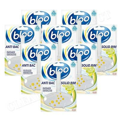 Bloo Anti-Bac Solid Rim Toilet Clear Water Citrus Zest 38g 8 Pack FREE POSTAGE