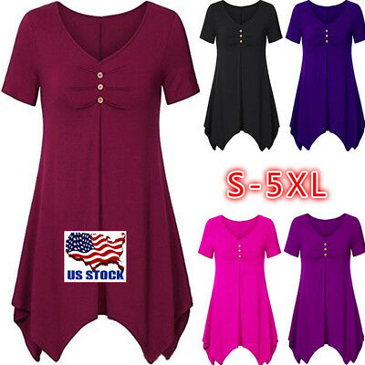 Womens Button V Neck T-Shirt Ladies Summer Casual Tops Blouse Plus Size S-XXXXXL