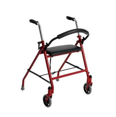 Drive Medical Two Wheeled Walker with Seat Red 1239BL 300lbs Capacity 12lbs Lite
