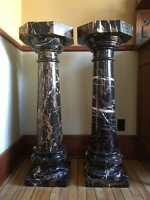 Pair of Contemporary Marble Octagonal 5pc Pedestal Column Plant Stands or Plinth