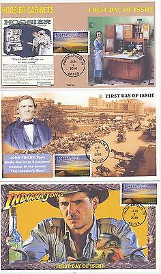 Jvc Cachets - 2016 Indiana Statehood First Day Cover Fdc - Set Of 3 Topical