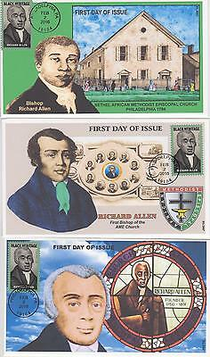 Jvc Cachets-2016 Richard Allen Issue First Day Cover Fdc Set Of 3 Black Heritage