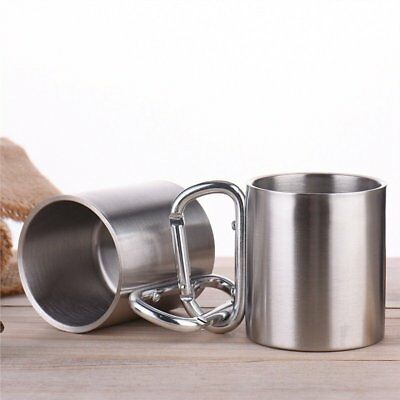 2.2L Double-deck Stainless Outdoor Hiking Camping Cup with Carabiner Handle P