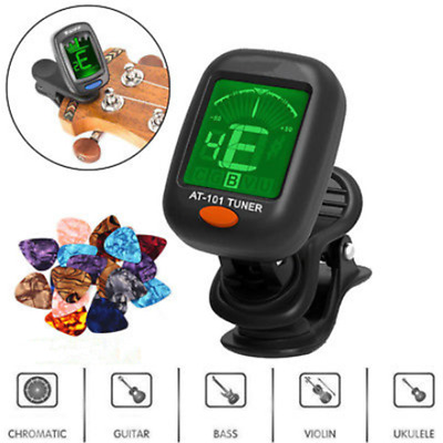 For Chromatic Violin Ukulele LCD Clip-on Electronic Digital Guitar Tuner Picker