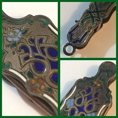 19th C. French Sterling silver Lorgnette Opera Glass - Cloisonné-$30 OFF Free Sh