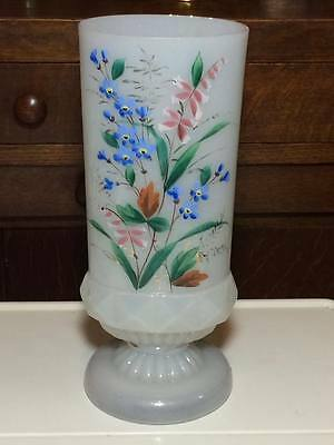 Antique bristol glass vase with hand painted flowers