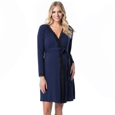 NWT Pip & Vine Maternity Nursing Slip and Robe, Navy with Black Lace, MSRP $98