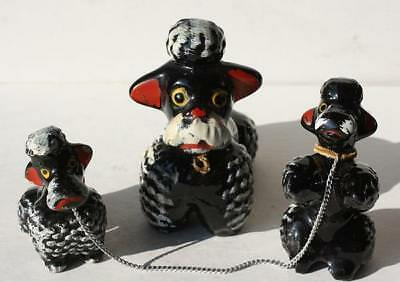 Black Poodle Dog Figurines with Chain-Hand Painted-Ceramic-Porcelain Set of 3