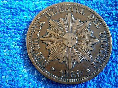 Uruguay: Scarce 4 Centesimos Large Bronze Coin 1869-H  Very Fine Plus!!