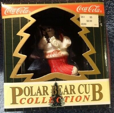 Vintage Coca-Cola Polar Bear Cub in stocking Collection Christmas ornament MIB