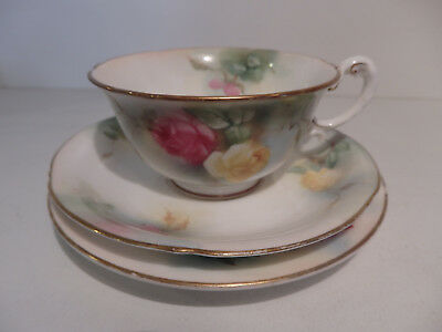 Antique Royal Worcester Cup Saucer Plate Yellow and Red Roses W8011 circa 1905