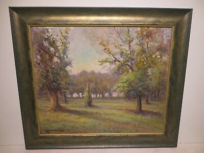 "20x24 org. 1930 antique oil painting by Robert Wood of ""San Antonio Texas Park"""
