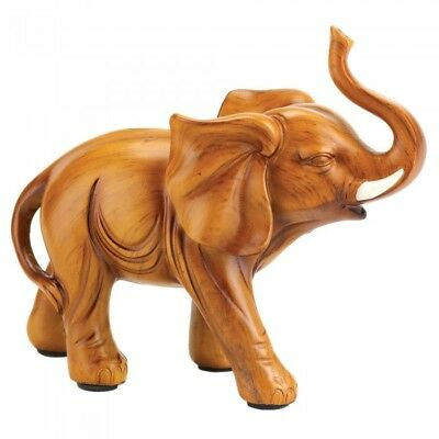 Lucky Elephant Wood Look Figurine Statue Home Decor Carved Decorative Accent