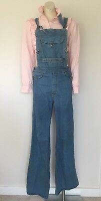 "1970s Rare ""Hang Ten"" Vintage Blue Flares Overalls Dungarees M"