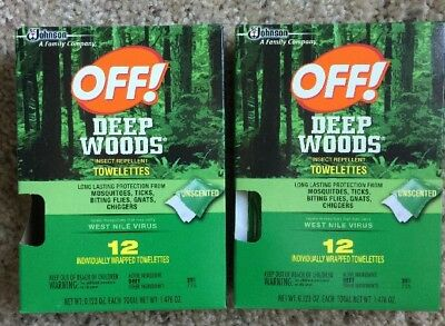 Off! Deep Woods Insect Repellent Wipes 24  Towelettes New , Free Shipping