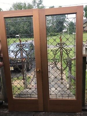 Arche Match Pair Antique Stained Leaded French Doors 5' X 80""