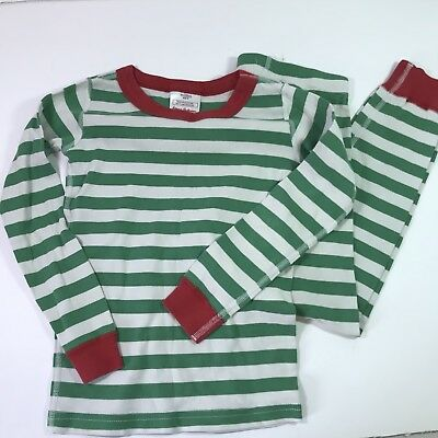 HANNA ANDERSSON 120 Green White Striped Long Johns Pajamas Pjs Size 6-7