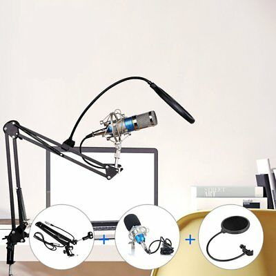 Condenser Microphone Mic Studio Sound Recording & Boom Stand For PC Laptop GO