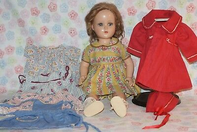 """SO PRETTY! Vintage 17"""" Nannette Composition And Cloth Doll With Extra Clothes"""