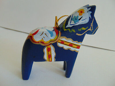 Vintage Swedish Dala Horse WOOD Hand Carved Hand Painted Sweden BEAUTIFUL