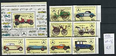 265149 KOREA 1986 year used stamps set+S/S Mercedes-Benz CARS