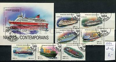 265160 Madagascar 1994 year used stamps set+S/S SHIP LINERS