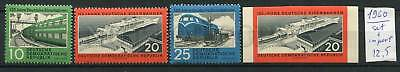 266348 GERMANY GDR 1960 year stamps set+IMPERF TRAIN railroad
