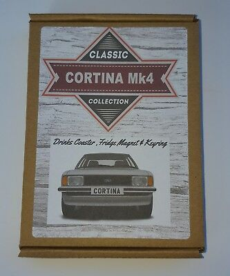 Ford Cortina Mk4 GL Ghia  Keyring Coaster Magnet Birthday Gift set *WT*