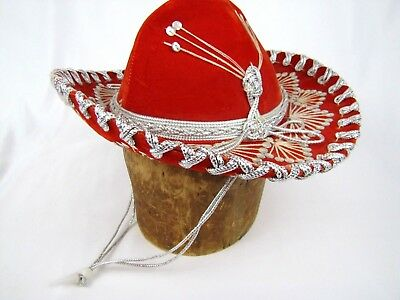 1ef1dc885e80d PIGALLE CHILD MEXICAN Sombrero Hat Red Velvet Sequined Embroidered ...