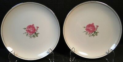 "Fine China of Japan Imperial Rose Salad Plates 7 7/8"" Set of 2 EXCELLENT"