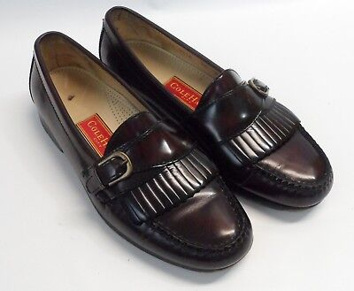 4fe0f5d95be Mens Cole Haan Kiltie Pinch Toe Buckle Monk Strap Loafers Burgundy Shoes Sz  9.5