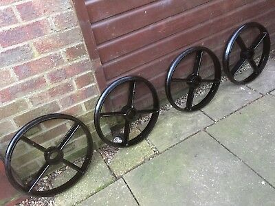 "Set of 4 Cast Iron Wheels 19"" Ideal for Shepherds Hut/Chicken Shed"