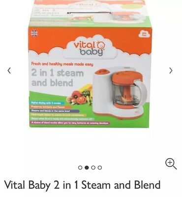 BRAND NEW vital baby 2 in 1 steam and blend Baby Blend Food Preparation unit
