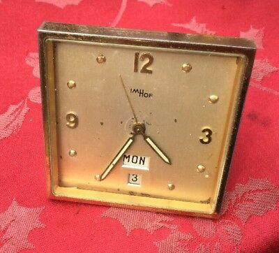 Rare 8 Day 8 Imhof Brass  Desk Clock With Calendar For Spares Or Repair