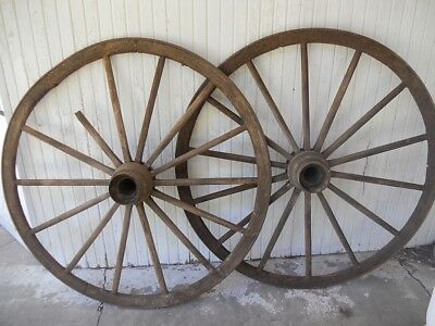 "Pair of Antique 56"" Wooden Wagon Wheels 14-spoke"