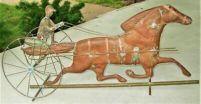 Antique Copper Weathervane with Sulky, Rider and Horse - American Folk Art
