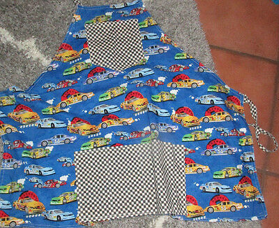 Traditional  BIB hostess Apron,CARS-CARS CARS Reversibles to Checkerboard.
