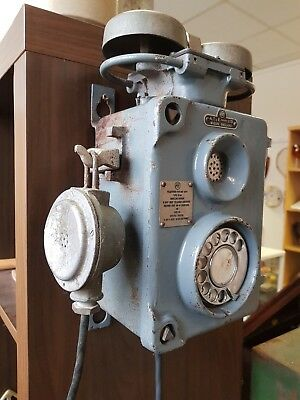 Vintage industrial old cast iron explosion proof telephone miners factory red k6