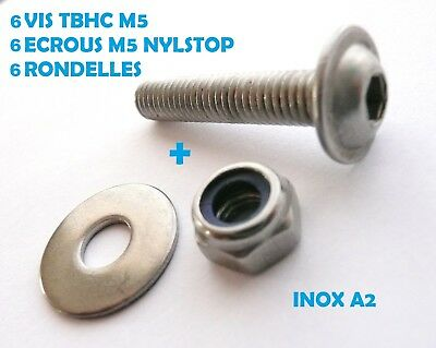 6 VIS TBHC INOX A2 M5 x 40 mm TETE BOMBEE A EMBASE + ECROUS NYLSTOP + RONDELLES