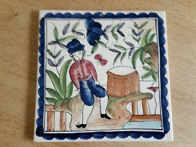 Beautiful Vintage Portuguese  Hand Painted Tile perfect codition
