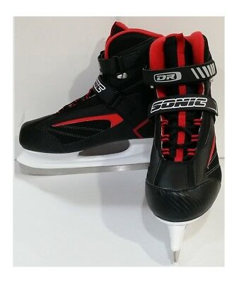 DR Sports Men's Softboot Ice Hockey Skate Black/Red, Size 10