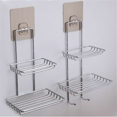 Bathroom Shower Soap Dish Holder Stainless Steel Wall Mounted Tray Basket New