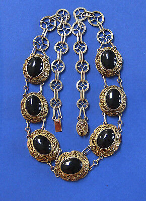 """Antique Vintage Chinese Deco Sterling Silver Black Onyx Filigree Necklace 20"""""""