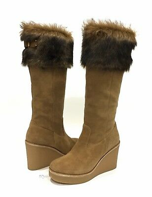 b9f5aee3b6c UGG VALBERG WEDGE Boots Brown Chestnut Suede Toscana Fur Cuff -Us Size 7.5  -New