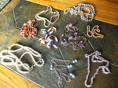 Vintage Assorted Costume Jewelry Necklace Lot of 9 Pieces