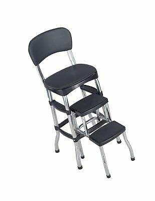Cosco Black Retro Counter Chair/Step Stool, Black Step Stool
